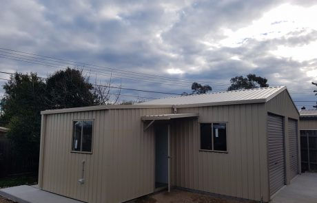 Double Garage with Workshop Sheds Shade and Turf Canberra