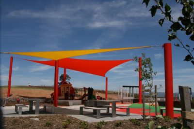colourful Shade Sail over playground