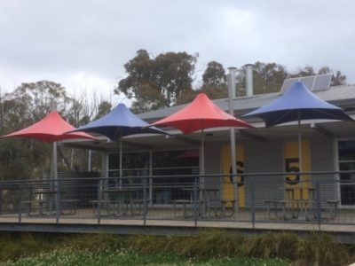 Umbrella's for outdoor eating area