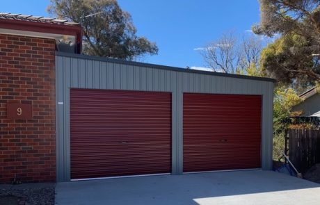 skillion double garage attached to house