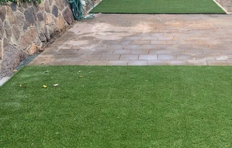 Synthetic turf in a backyard